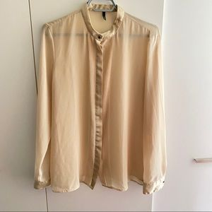 Benetton Champagne Blouse with Micro Pleats
